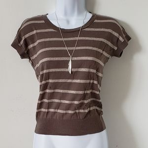 Ann Taylor LOFT Top Gray Silver Glitter Striped